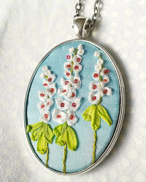Ribbon embroidery.  #ribbonembroidery #handembroidery #hollyhock