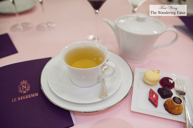 Earl grey tea and my plate of petit fours and my copy of tonight's menu