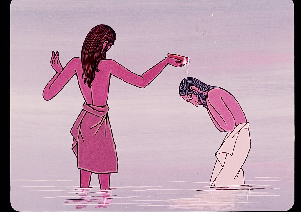 Stock graphic of Jesus being baptised