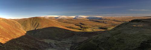 sky panorama sunlight mountains nature beauty forest landscape scotland scenery shadows hills moffat scottishborders golderhour devilsbeeftub