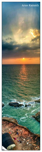 sunset people panorama lighthouse beach water colors mobile clouds mobilecamera mangalore greenwater nexus5