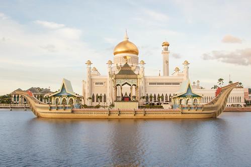 sunset architecture landscape brunei bsb bandarseribegawan royalbarge bruneidarussalam masjidomaralisaiffudien