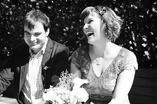 WeddingEALaughBW