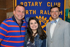 Dad Steve Becker with his daughter Allison and Club President Chris Morden. The Becker's hosted a Rotary Exchange student 3 years ago.