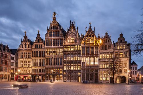travel sunset tourism square europe belgium belgique belgië bluehour antwerpen anvers