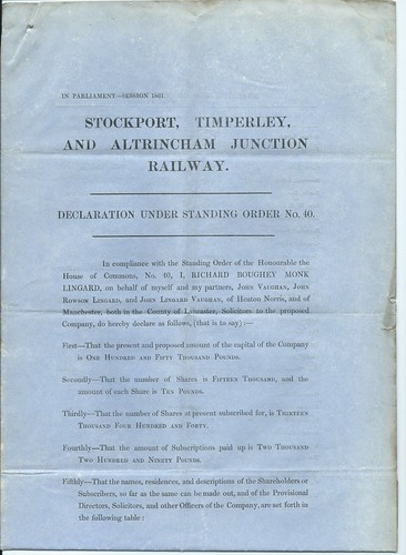 Srockport, Timperley, and Altrincham Junction Railway Solicitors declaration to Parliament for an extension of time 1861 | by ian.dinmore