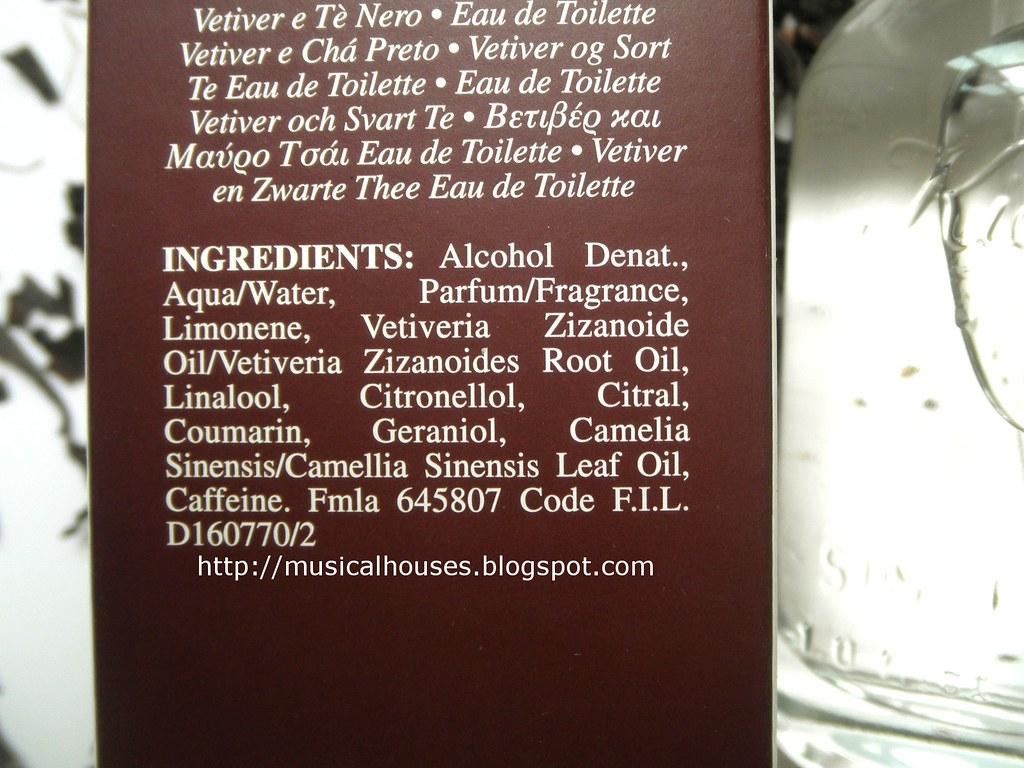 Kiehls Vetiver and Black Tea Perfume Ingredients | musicalho