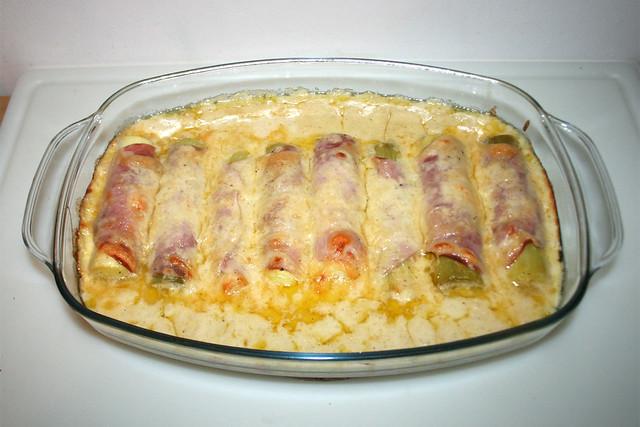 40 - Scalloped leeks with pea rice - Finished baking / Überbackene Lauchstangen mit Erbsenreis - Fertig überbacken