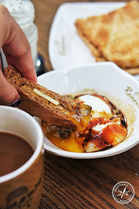 Kaya Toast dipped in a soft boiled egg