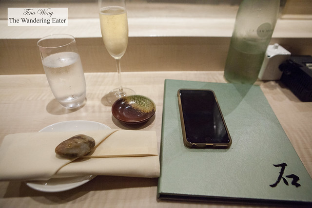 Menu and glass of Champagne Philippe Gonet, Grande Reserve Brut