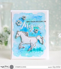 http://bit.ly/1OSNA8P On the blog today, our guest designer Kay shares another watercolored card! We love that she blended the trees a bit into her ground! Come check out the one her mother made too! #MagicalStampSet #MagicalDie #MagicalWordDie #WaffleFlo