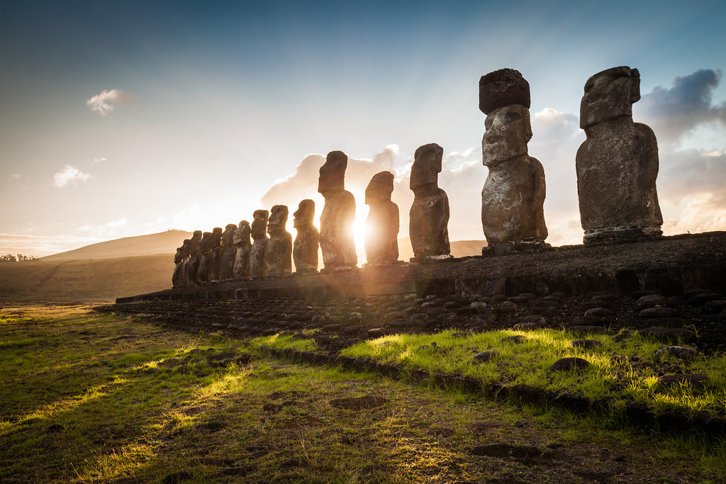 Lying Moai Ruin With The Iconic 15 Moai Statues In The