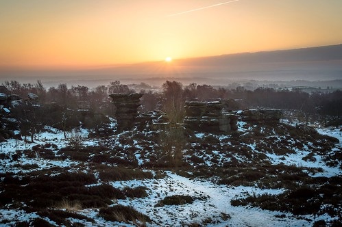 winter sun snow tree clouds sunrise landscape scenery rocks yorkshire brimham