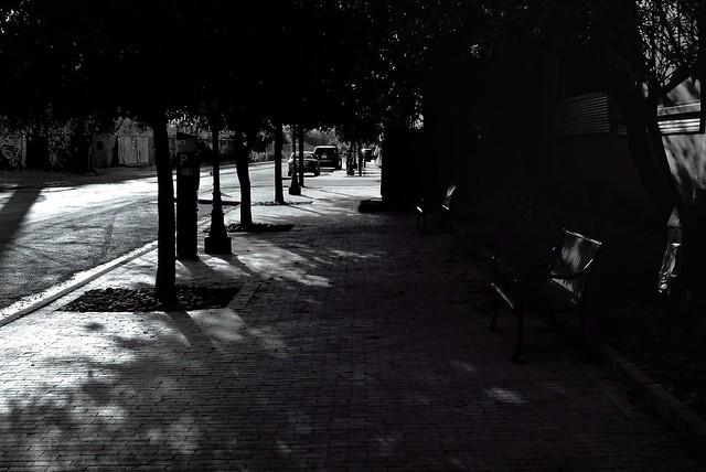 A Sidewalk in the Shadows (B&W)