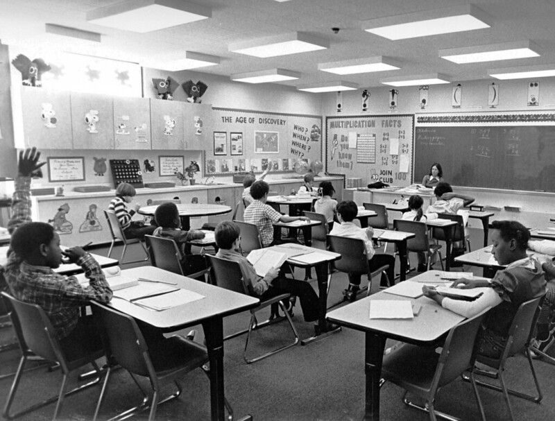 Boston Public School classroom during a visit by Mayor Kevin White