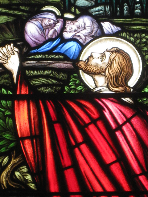 Detail of Jesus Praying in the Garden of Gethsemane in the Frederick Arthur Booth MA and Mary Elizabeth Booth Memorial Stained Glass Window; St Jude's Church of England - Corner of Lygon, Palmerston and Keppel Streets, Carlton