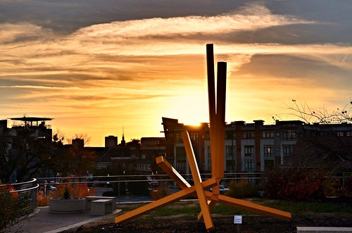 blue sunset sculpture orange white green yellow evening twilight flickr glow tennessee rays hbm chattanoogatn bluffviewartdistrict happybenchmonday whitegrayclouds
