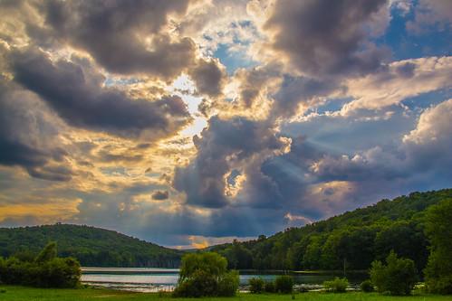 sunset summer sun mountains water clouds canon evening newjersey powershot reservoir summertime g12 monksville monksvillereservoir smack53