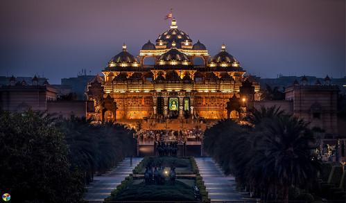 sunset india night temple evening nightscape delhi tourist citylights d750 newdelhi tamron28300 akshardham