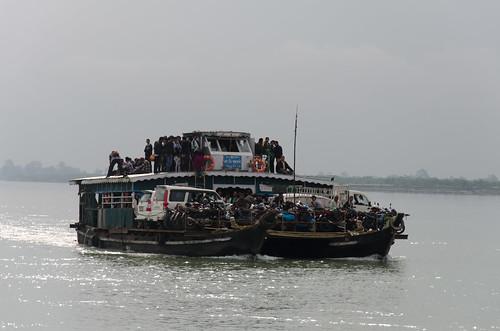 pohardia assam india ferry carferry crowd river