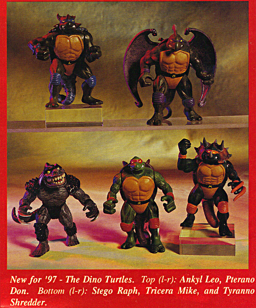 "ACTION FIGURE NEWS & TOY REVIEW : ""PLAYMATES TREKS ON INTO 1997"" pg.7 / .. DINO TMNT (( 1997 )) by tOkKa"