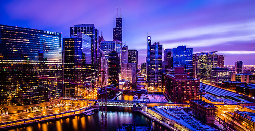 january winter usa city longexposure bluehour holidayinn chicago hdr sunset long exposure triggertrap river night train snow skyline buildings illinois