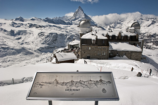 Welcome to the Gornergrat. A view of the Matterhorn.  Winter paradise.