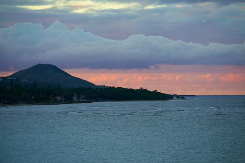 sunset sea mountain harbor dominicanrepublic puertoplata