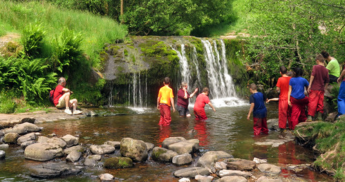 Kids learning to face their fears at the falls in Brecon Beacons National Park, Wales