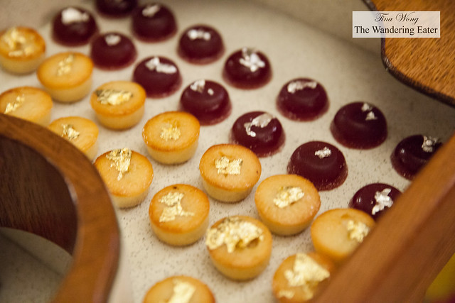 Gold keafed financiers and silver leafed berry jellies