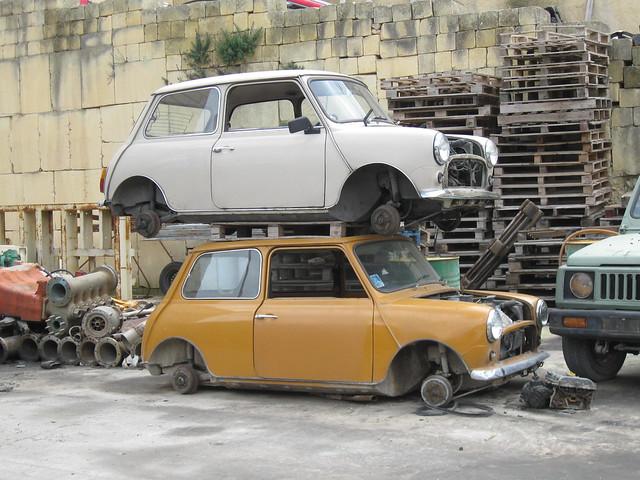 1970s Maltese assembled Mini 1000 duo seen in scrapyard March 2012