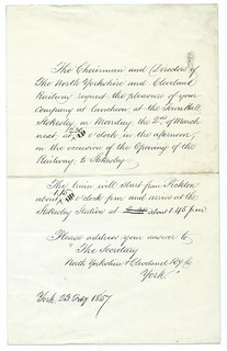 North Yorkshire and Cleveland Railway  invite to the opening of the Railway 1857 | by ian.dinmore