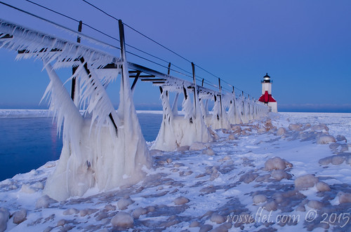 morning winter light lighthouse snow cold ice nature weather saint twilight michigan stjoseph lakemichigan boardwalk pure joesph freezingspray