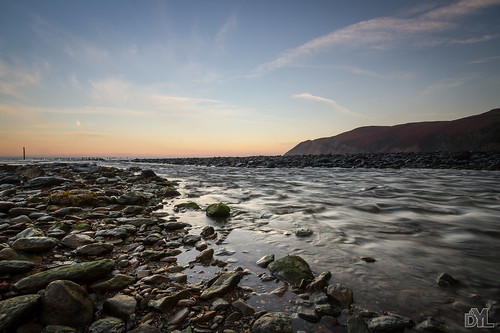 sunset water rocks
