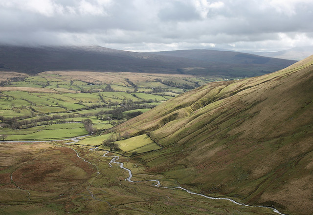 Cautley Holme Beck and the Rawthey Valley, Howgill Fells near Sedbergh, Yorkshire Dales National Park, Cumbria, UK