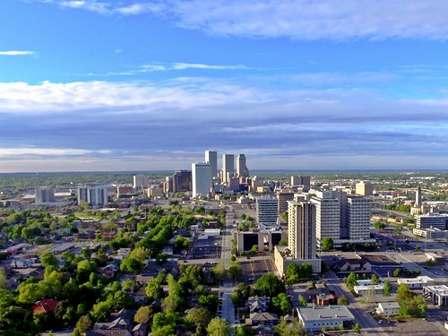 Looking North on Downtown Tulsa, Oklahoma from 18th St S with Drone | JustTulsa.com | by JustTulsa