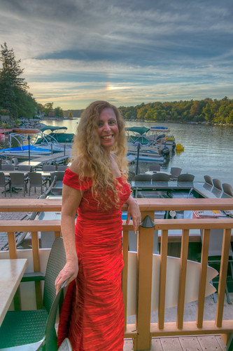 lakeharmony nickslakehouse nikon nikond5300 pennsylvania boats clouds evening fence geotagged girl honeymoon lake marina portrait pretty red restaurant sky smile water woman unitedstates