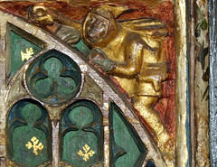 Mattishall screen:  shepherd in a cowl with a crook (15th Century)