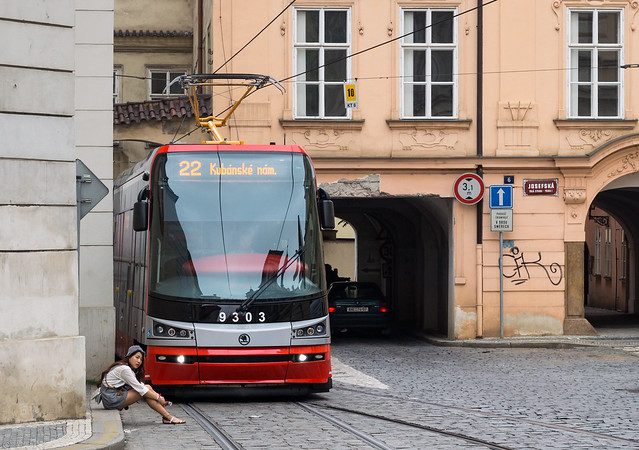 Prague tramway: of tram and girl