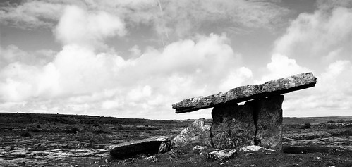 ireland summer sky blackandwhite bw history architecture clouds wonder fantastic ancient scenery clare cloudy magic memory burren balance alive past magical mystic antiquity standingstone prehistory primordial primeval poulnabronedolmen