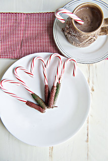 Chocolate Covered Candy Canes on a plate with a mug of hot cocoa | by Berries.com