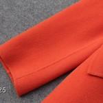 141025-35 ()羊绒双排扣中长大衣 S  M L 姜黄色 橙色 大红色 浅黄色 草绿色 果绿色   M码胸106长85 (2)