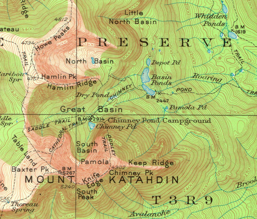 Katahdin Topo Map   Topo map of our route from Roaring Brook ...