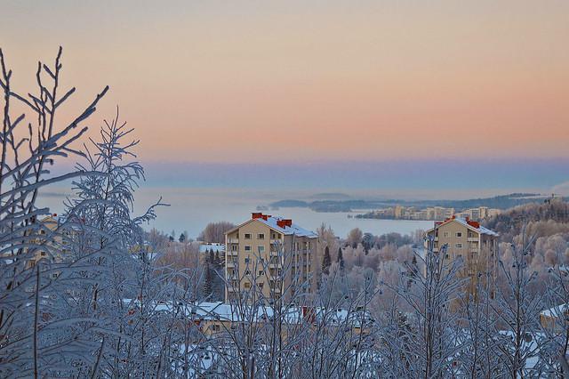 Lahti and Vesijärvi lake from Radio Hill. 29.12.2014. Temperature -26°C.