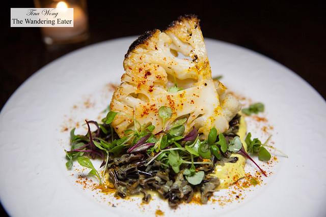 Roast cauliflower, coconut wild rice, pickled raisins, vandouvan yogurt, cilantro and lime gremolata