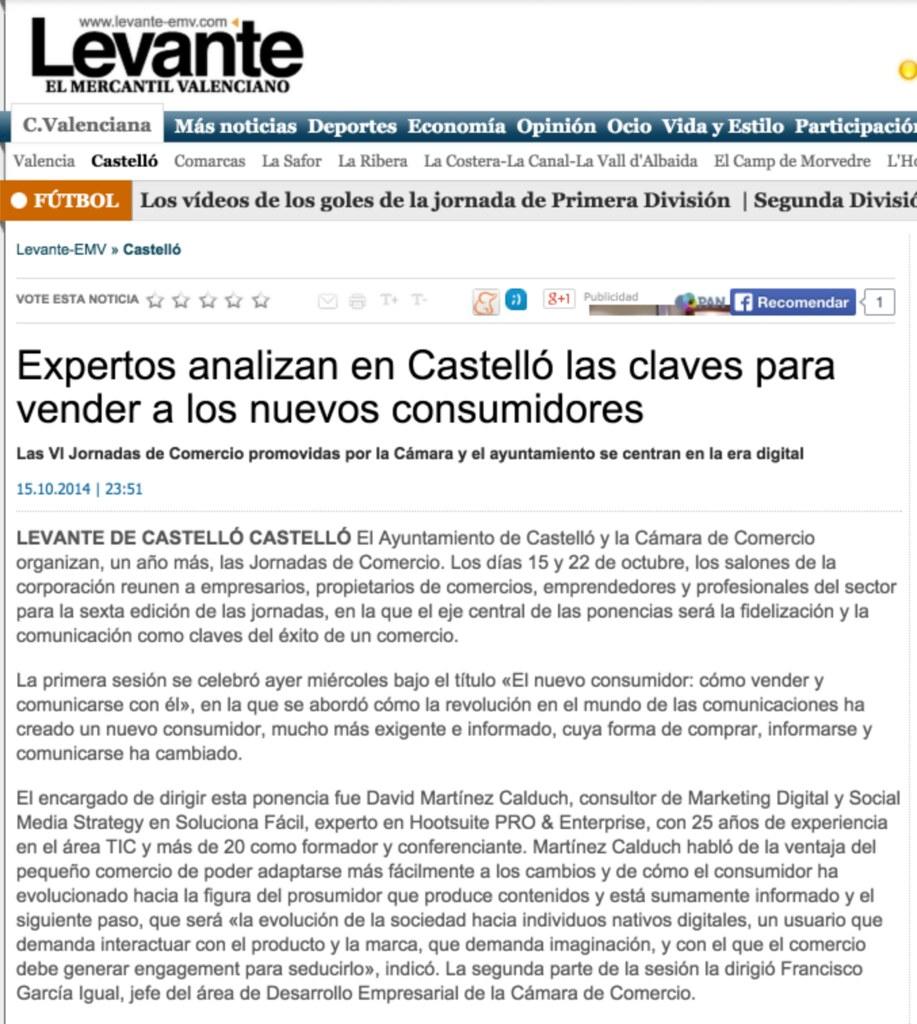 2014-10-15 levante-emv.com Expertos analizan en Castelló las claves para vender a los nuevos consumidores - David Martinez Calduch