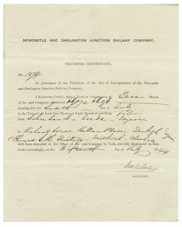 Newcastle and Darlington Junction Railway  Deed of Conveyance Transfer Certificate 1844 | by ian.dinmore