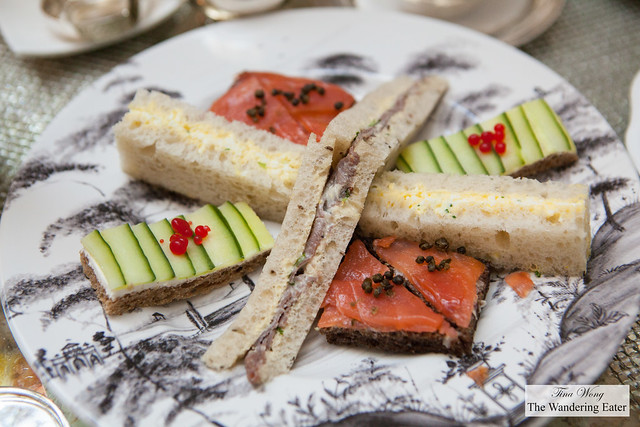 """Our tea sandwiches - Egg salad, Roast beef on rye, Cucumber & grapefruit """"caviar"""" and somked salmon with fried capers"""