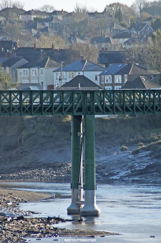 Railway bridge crossing the river Usk in Caerleon