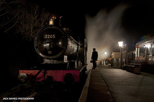 3205 stands in Staverton Station on the South Devon Railway on the 8th December 2014 during a Timeline Events Photographic Charter.